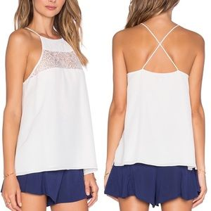 Cami NYC The EVA White Lace Silk Cami Top